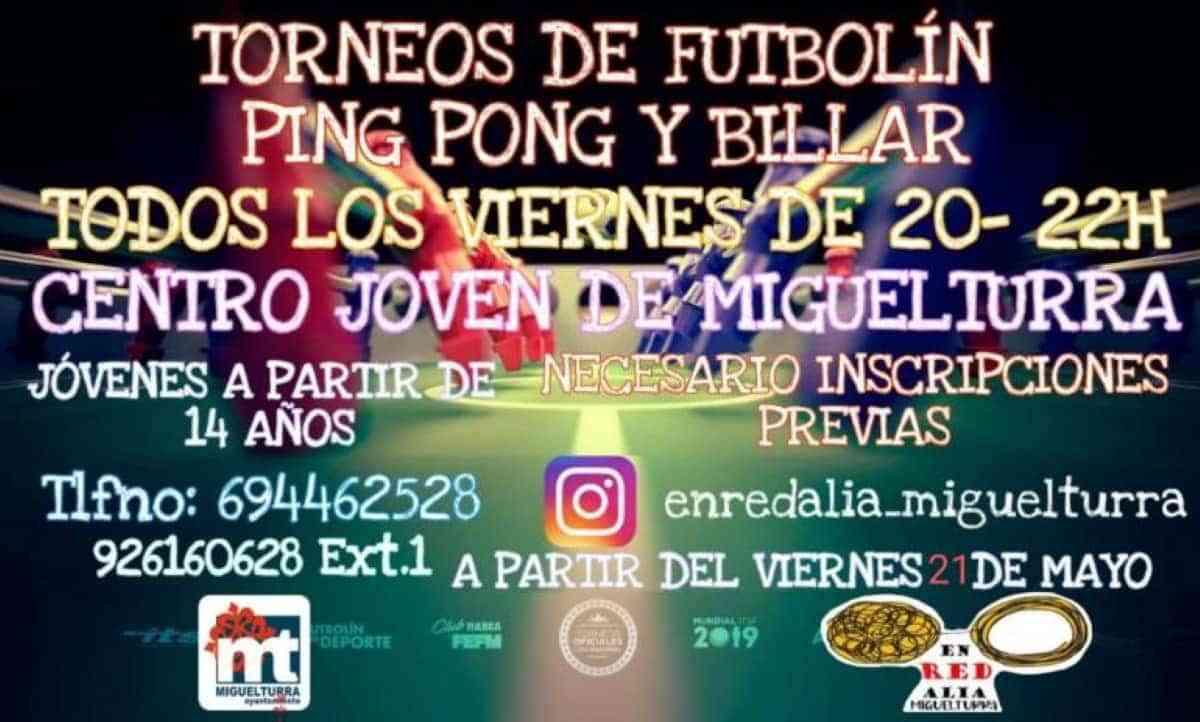 Torneos de futbolín, ping pong y billar en el Centro Joven de Miguelturra este viernes