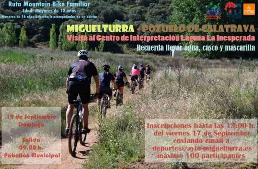 Ruta Mountain Biker familiar de Miguelturra a Pozuelo de Calatrava y visita a la Laguna «La Inesperada»
